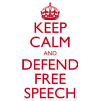 Keep Calm and Defend Free Speech Classic White T-Shirt Design