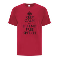 Keep Calm and Defend Free Speech Classic Red T-Shirt Thumbnail