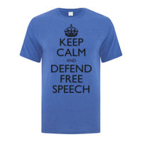 Keep Calm and Defend Free Speech Classic T-Shirt Multiple Color Selection Thumbnail